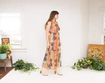 90s Vintage Alexis T. Paris French Designer Patchwork Mesh Jersey Colorful Bright Vibrant Maxi Dress Sleeveless