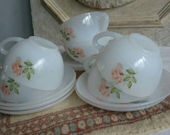 6 Vintage Arcopal Espresso Pink Roses, Cups and Saucers French Milkglass,