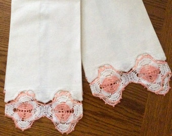 Pair of Vintage Cotton Hand Towels with Peach Crochet Trim