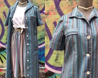 B38 / 1950s NUBBY BLUE Chore Dress