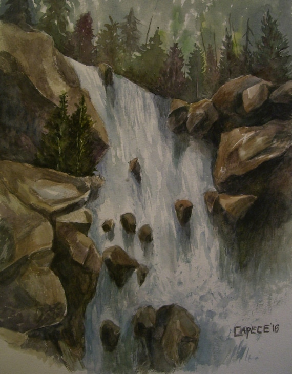 Majestic Falls, 16x20 Original Watercolor,ONE OF A KIND, Not a Print,Free Shipping Code SKYE2