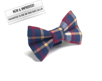 Old Man Plaid Dog Bow Tie