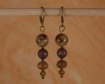 Earrings Agate Earrings Boho Goddess Earrings Czech Pressed Glass Earrings Elegant Dramatic Earrings Brown Tan Earrings