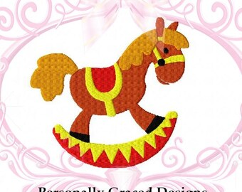 Instant Download Baby Rocking Horse Filled Stitch Embroidery Design 4 Sizes 3in, 4in, 5in, 6in, Horse Embroidery, Baby Embroidery Pattern