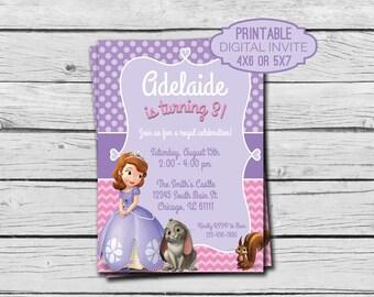 Sofia the First Birthday Invitation - Digital File