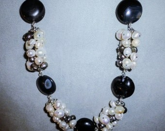 Freshwater pearls and Botswana agate necklace.