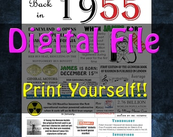 1955 Personalized Birthday Poster, 1955 History - DIGITAL FILE!!