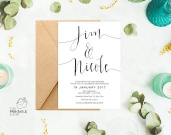 Rustic wedding invitation printable wedding invitation, Printable wedding invitation set, Customised wedding stationery suite