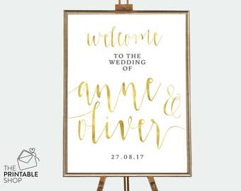 Wedding welcome sign, Gold wedding signs, Gold signs, Printable wedding signs, Gold wedding decor, Rustic wedding signs, Printable signs