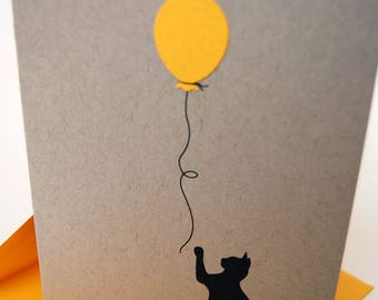 Cat Birthday Card, Happy Birthday, Balloon