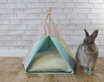 Rabbit bed teepee with pillow - watermelon pattern - light blue & pink