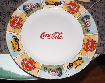 Vintage (c. mid 1990s) Gibsons Coca-Cola Good Old Days large dinner plate.  1960s imagery.