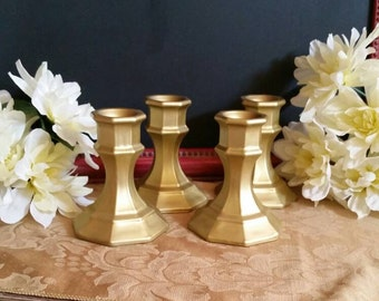 Set of 4 Gold Candle Holders; Gold Candle Holders; Wedding Candle Holders