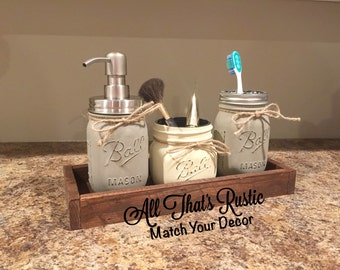 Rustic Mason Jar Bathroom Set, Bathroom Set, Mason Jar Decor, Rustic Home Decor, Rustic Decor, Painted Mason Jars, Reclaimed Wood, Gift