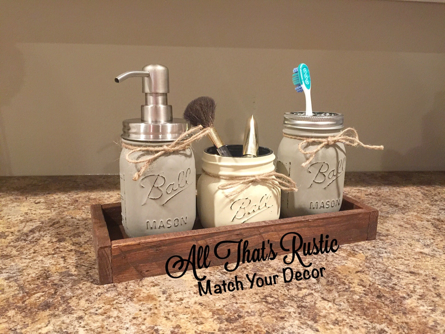 Rustic mason jar bathroom set bathroom set mason jar decor for Bathroom decor mason jars