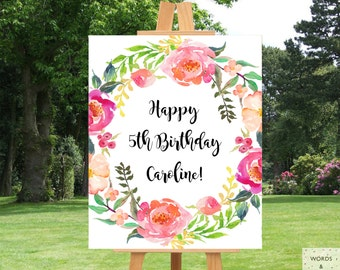 Happy Birthday Banner, Birthday Banner Personalized, Birthday Banner Printable, Birthday Decorations, Girl Birthday Party, Floral, Digital