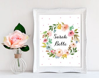 Baby Girl Prints, Top Selling Shops, Name Sign, Baby Name Wall Art,