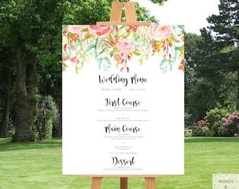 Wedding Menu Sign, Wedding Menu Printable, Menu Board, Poster, PDF, Wedding Signs Rustic, Wedding Decor Rustic, Floral, Decorations, JPEG