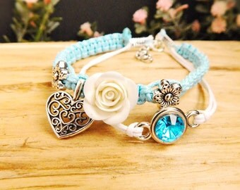 Charm bracelet Girls jewelry Gift for her Blue bracelet Rhinestone bracelet Blue flower jewelry Macrame bracelet Best friend gift Birthday