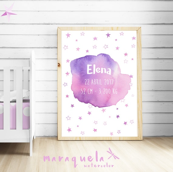 CUSTOMIZED PINK with stars watercolor newborn, personalized name, date, weight. Custom new born gift, baby shower,nursery wall room artprint