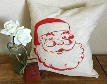 Santa   Rustic Christmas Pillow Cover   Holiday Farmhouse Pillow   16 x 16 Pillow Cover   Made To Order