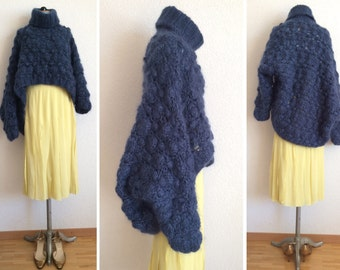 Christian Dior's Chunky Mohair Sweater/ Asymetrical Drape/ Made in France/ Dark Aegean Blue