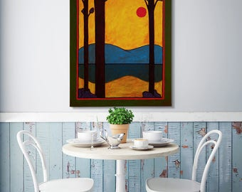 Golden Dusk, Folk Art Painting, Modern Folk Art, Minimalist Abstract Landscape, Arts and Crafts Movement Style Original Art by JP Goodman