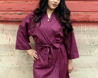 Bridesmaid Robe Set of 9 - Wedding Robe - Plain Cotton Robes - Getting Ready Outfit - Monogrammed Bridesmaid Robes - Add Titles to Back