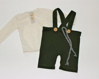 Baby Boy Romper, baby 1st birthday outfit boy, Grey baby shorts, Newborn Outfit, Baby Boy Shorts, Baby overalls, Baby Suspenders