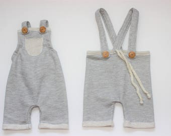 Baby Romper,Baby Boy Romper, Grey Baby Romper, Baby Boy Overalls, Baby Romper, Newborn Romper, Cake Smash outfit,  Photography Romper