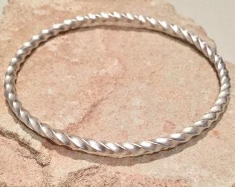 Sterling silver bangle bracelet, twisted bangle bracelet, stackable sterling silver bracelet, stackable bangle, silver bracelet gift for her