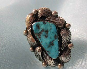 Large Native American Indian Silver Feathers Design and Turquoise Stone Statement Ring