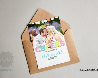 MARRIAGE Announcements, Cheers from the New Mr and Mrs. We Got Married add your date and photo, CUSTOMIZED just for you