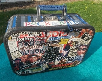 Rockin Vintage SUITCASE UP-CYCLE Painted, Decoupaged Rock-N-Roll Themed luggage!