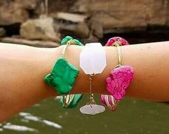 Pink or Seafoam Green Rock Bangle - Handwired