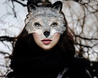 Wolf mask Made To Order Paper mache Wolf mask  Animal wolf mask Head mask Wolf costume mask Papier mache mask Adult mask
