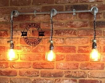 The Knapton Kilner jar wall light fitting retro shabby chic vintage filament lamps steampunk urban bar cafe mason restaurant table e27