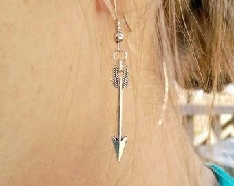 Boho Arrow Earrings - Silver Boho Earrings, Travel Earrings, Boho Drop Earrings, Wanderlust Jewelry, Silver Dangle Earrings, Travel Jewelry
