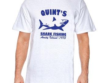 Quint's Shark Fishing White, Black or Gray T-Shirt