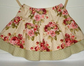 Lovely girls roses floral tier skirt with dots.