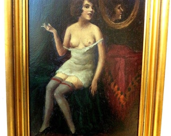 Bela Czene Hungarian nude oil painting Vintage 1930's Listed famous Hungarian painter