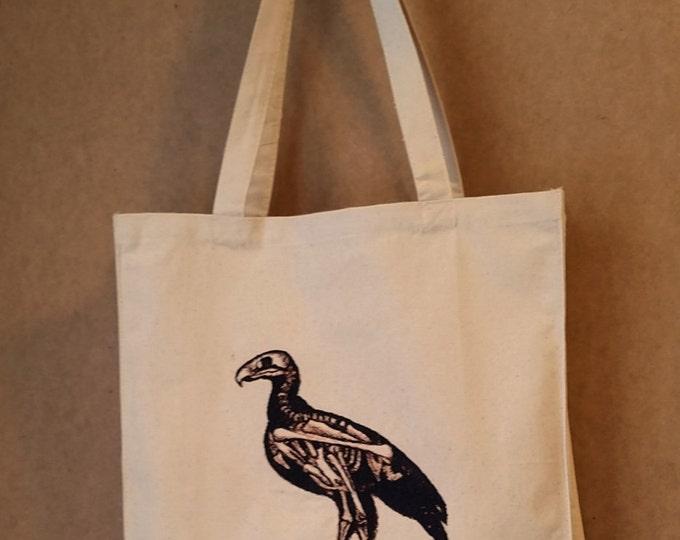 Embroidered Dodo Bird Skeleton Vintage Graphic Reusable Canvas Tote Bag