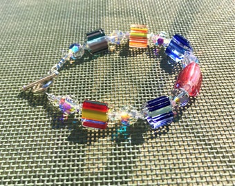 Cane Glass & Swarovski Crystal multicoloured summer bracelet