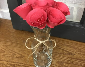 Red Paper Flowers - Red Rose - Table Centerpiece - Floral Decor - Anniversary Gift - Eco Friendly Decor - Wedding Centerpiece - Gift For Her