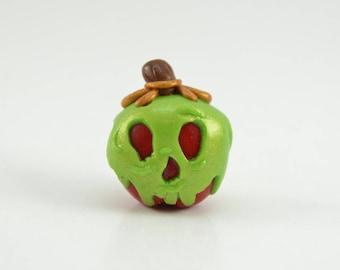 Green poison apple charm/keychain. Polymer clay charm. Poison apple charm
