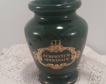 Apothecary Jar In Dark Green, Symphytum Officinale Gold Labeled Vase,  Hunter Green Medical Look Apothecary Jar, Home Decor Medicine Jar