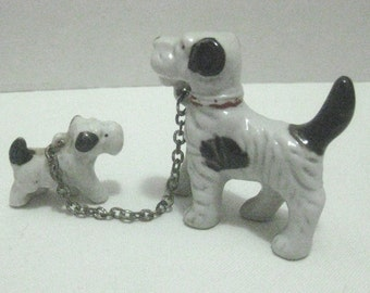 BLACK AND WHITE Porcelain Terrier With Puppy on Chain Mid Century Japan