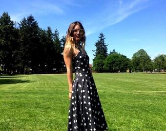 "Vintage polka dot dress / Backless dress / Halter neck dress / Summer dress / French style dress / Cotton dress  / Long dress / waist 28"" S"