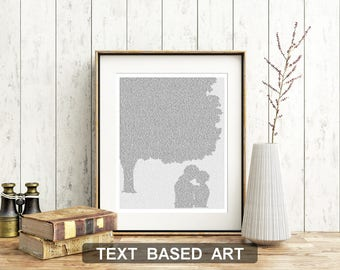 Jane Eyre Poster, Literary Print, Jane and Rochester Chestnut Tree, Jane Eyre Quote, Word Art  (AU)