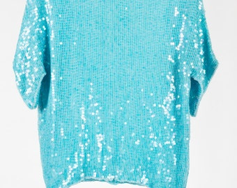 Beautiful, vintage sky blue sequin evening top